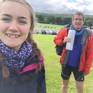 A mountain marathon with his daughter Rebecca