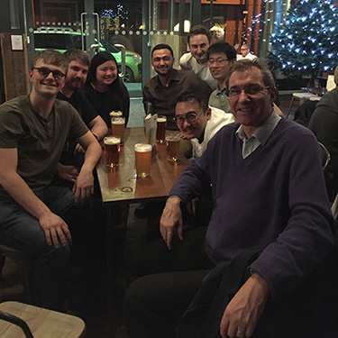 With his research group on a Christmas outing