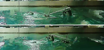 Float wave energy converters in a swimming pool