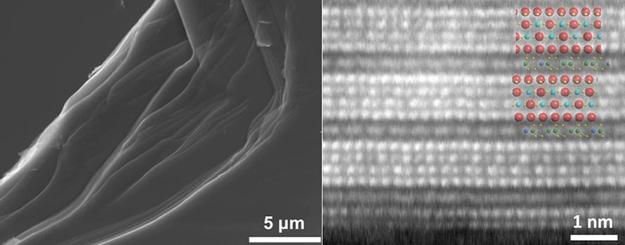 microscope image of the structure of natural van der Waals heterstructures
