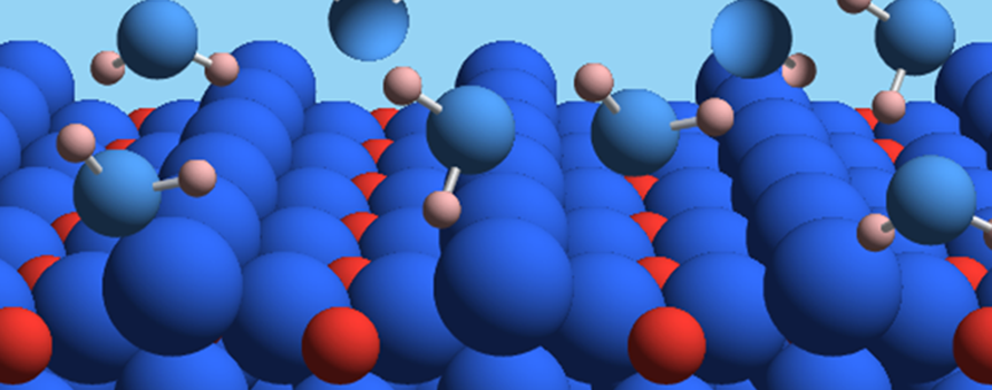 Water molecules interacting with a single crystal titanium dioxide surface