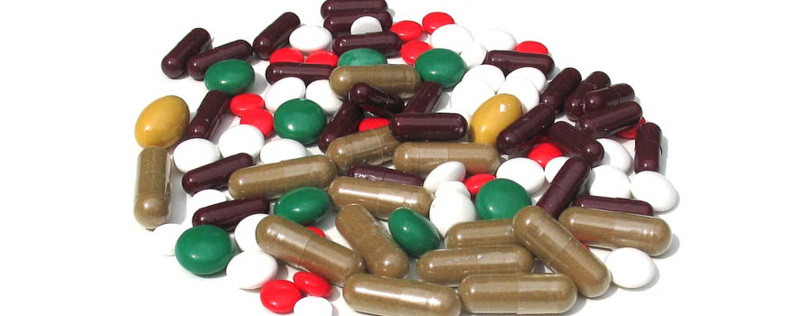 A collection of different types of pharmaceutical tablets