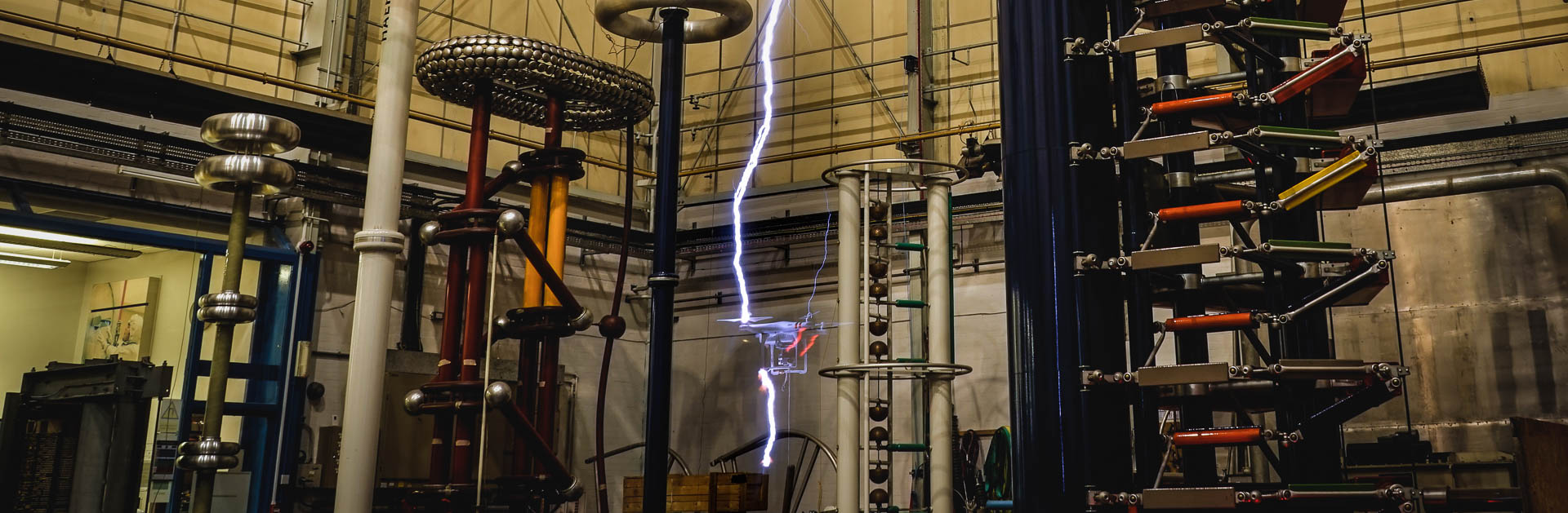 A drone is electrocuted in the high voltage test lab at The University of Manchester