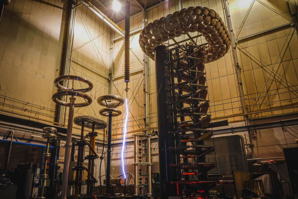 Testing the impulse generator at The University of Manchester High Voltage Laboratory. Image © Enna Bartlett