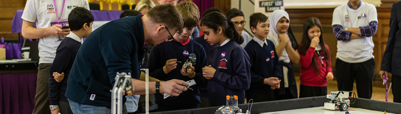Children competing in First LEGO League challenge