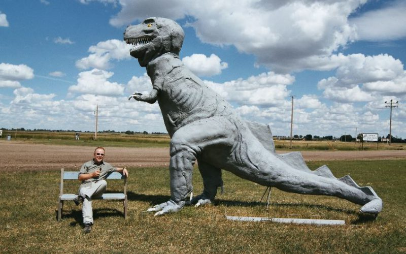Phil Manning and a T-rex
