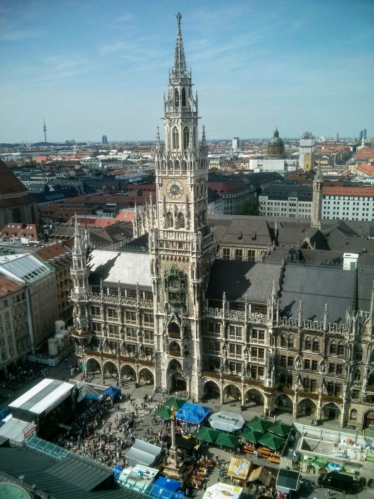 Marienplatz, seen from the tower of St Peter's Church, 200 meters from the office.
