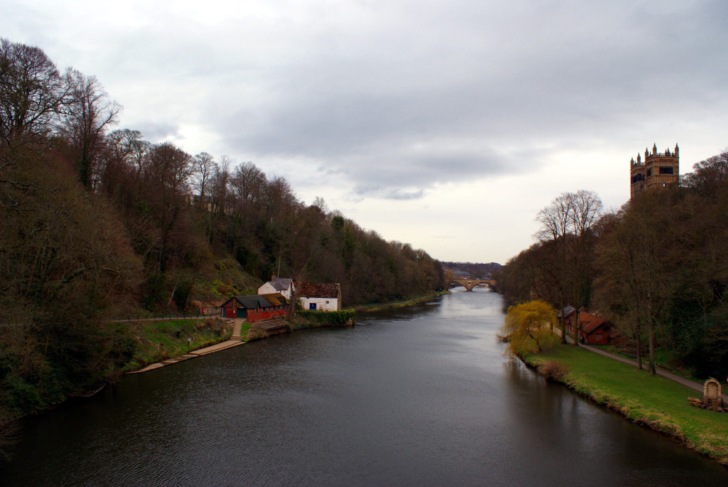 A view from a bridge over the River Wear. Durham Cathedral is on the right. The weather was quite cold taking this photo!
