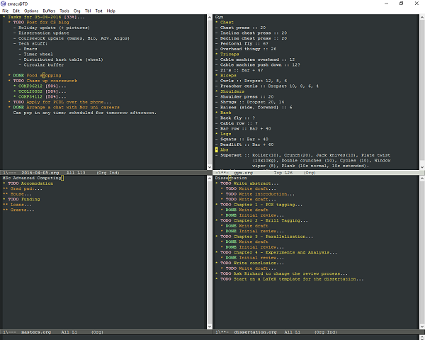 My current Emacs window; I'm using org-mode to work out what things need doing and keep track of other things. A good example is tracking where I'm up to with each dissertation chapter.