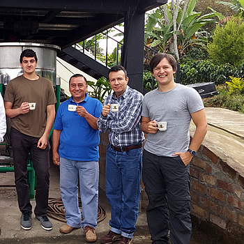 James recently visited a Colombian coffee plantation to conduct some exciting research. Here he is with some of the workers. And a cuppa, of course.