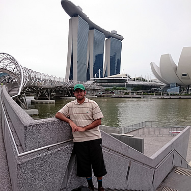 Adil during a Singapore trip with Costain, visiting the Marina Sands Bay