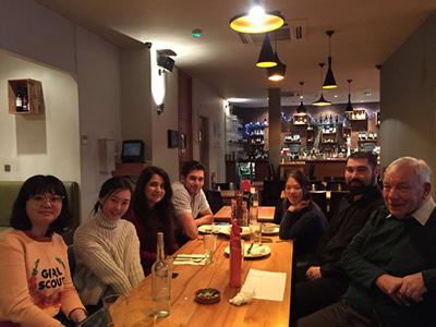 Tom and his group out for a meal
