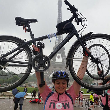 Emily at the end of the London to Paris Bike Ride