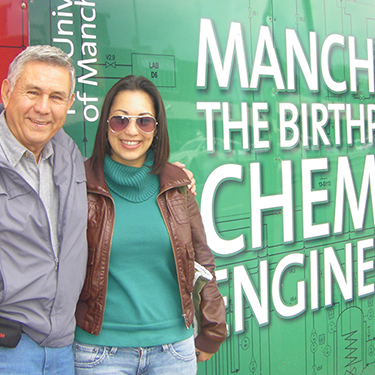 Rosa and her father in Manchester, the birthplace of chemical engineering!
