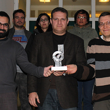 Kostas and his group with their IChemE award for Bioprocessing.