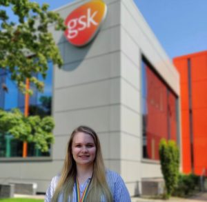 Fleur stood outside Glaxo Smith Kline building