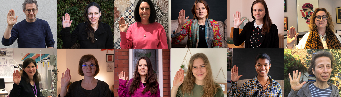 Collage of staff and students taking part in International Women's Day