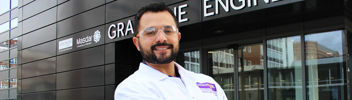 Danilo Da Silva Mariano, head of graphene research at Gerdau, outside the Graphene Engineering Innovation Centre at The University of Manchester