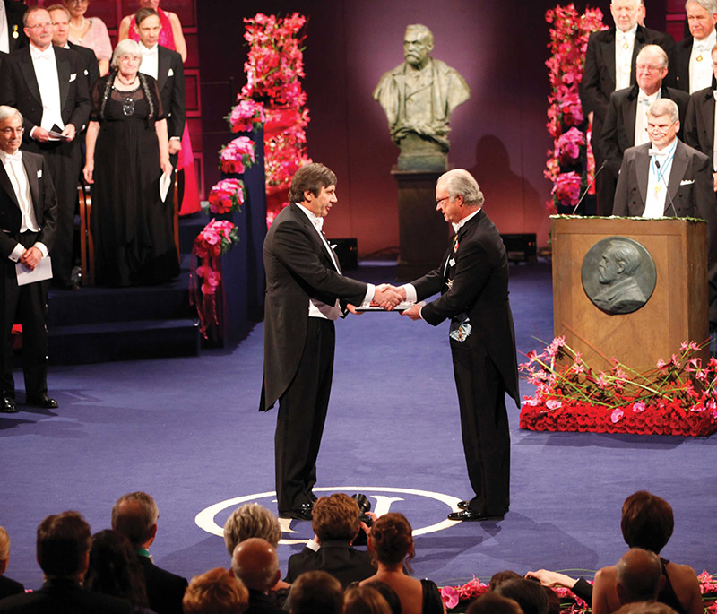 Professor Andre Geim receiving the Nobel Prize in 2010
