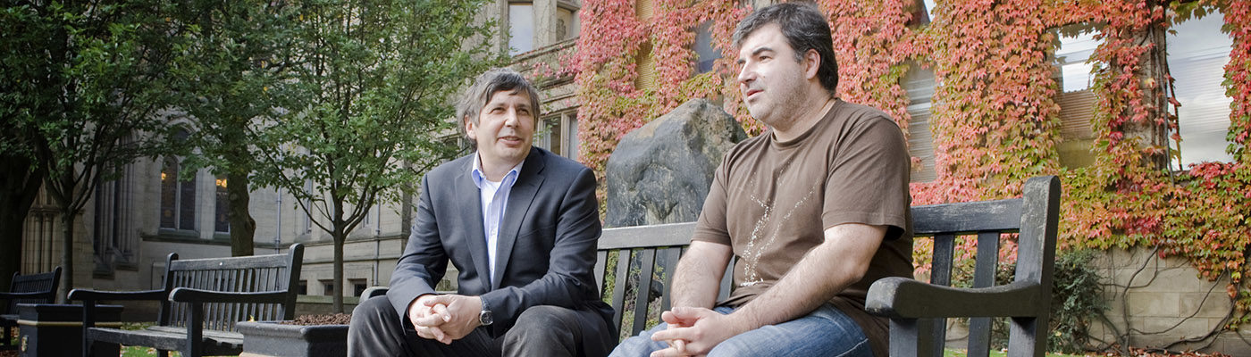 Andre Geim and Kostya Novoselov, pictured in 2010 after the annoucement of their award of the Nobel Prize for Physics