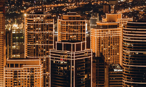 Iluminated cityscape at night