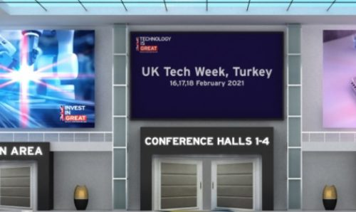 Virtual conference hall for UK Tech Week in Turkey