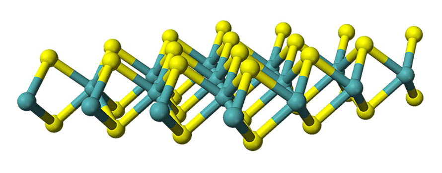 A molecular model of the structure of a two-dimensional sheet of molybdenum disulfide