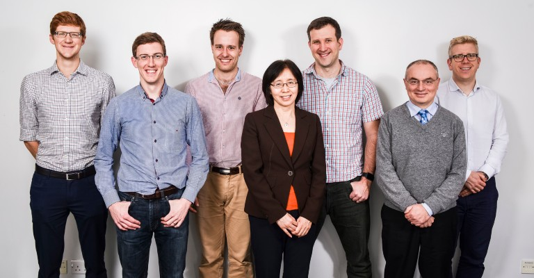 Adrian Harwood (second left) with former colleagues from MACE's Aerodynamics research group