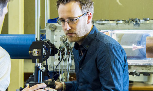 Aerospace engineering lecturer Mark Quinn operating wind tunnels in MACE