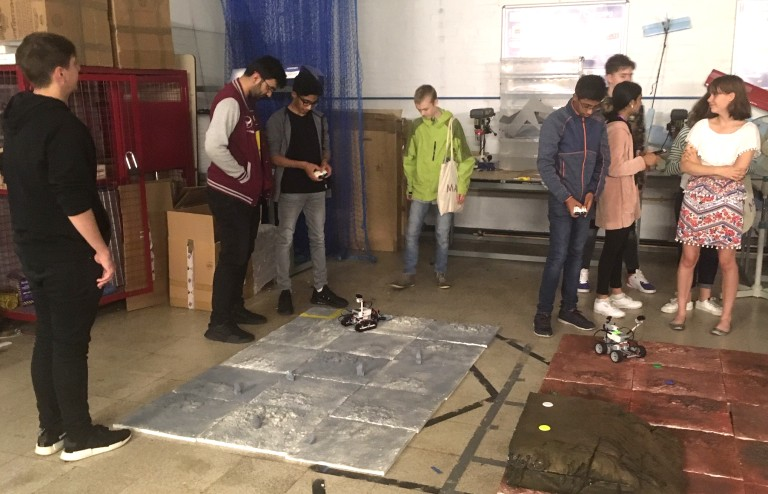 Mobin Malik and students testing Mars rovers