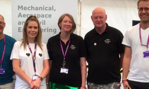 Women in engineering: Natalie Parish (centre) with MACE SR and flight sim team at Bluedot Festival