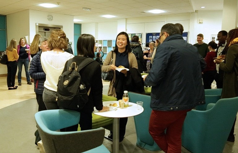 Celebrating women in engineering event - attendees chatting in George Begg building foyer