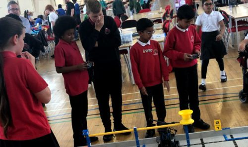 Pupils from Greater Manchester schools at the Vex Robotics workshop