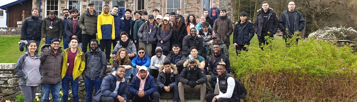 Group photo of civil engineering students on a field trip to Patterdale, Cumbria