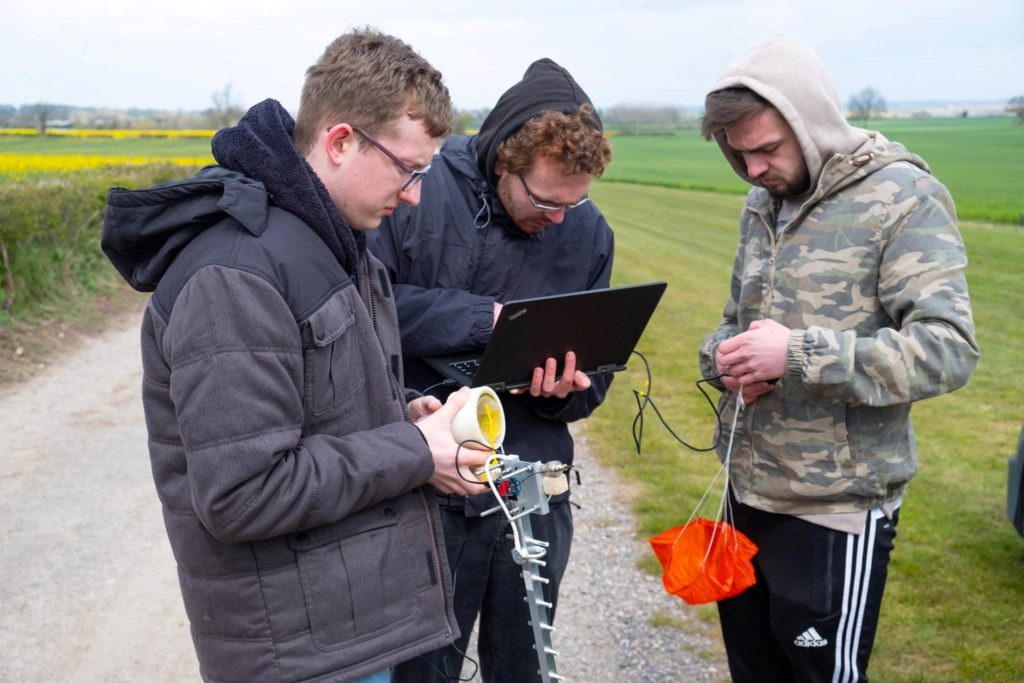 students preparing to launch their CanSat