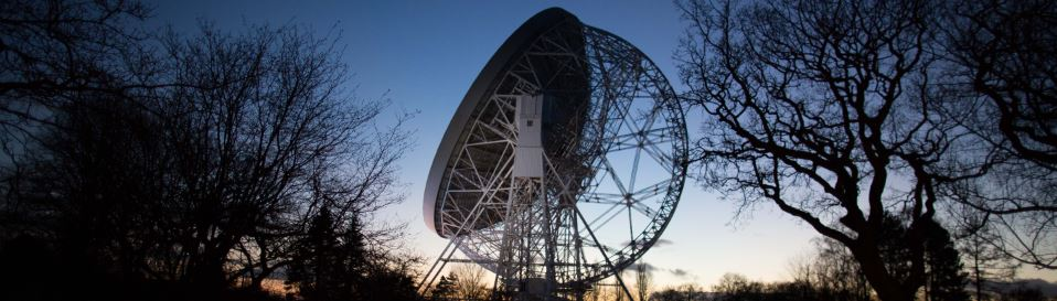 Lovell telescope at sunset