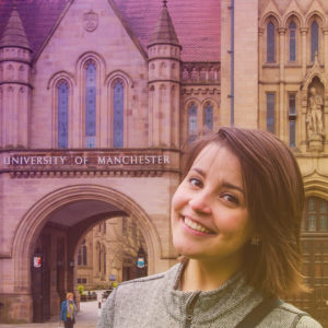 Woman outside University of Manchester