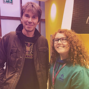 Prof Brian Cox with female student