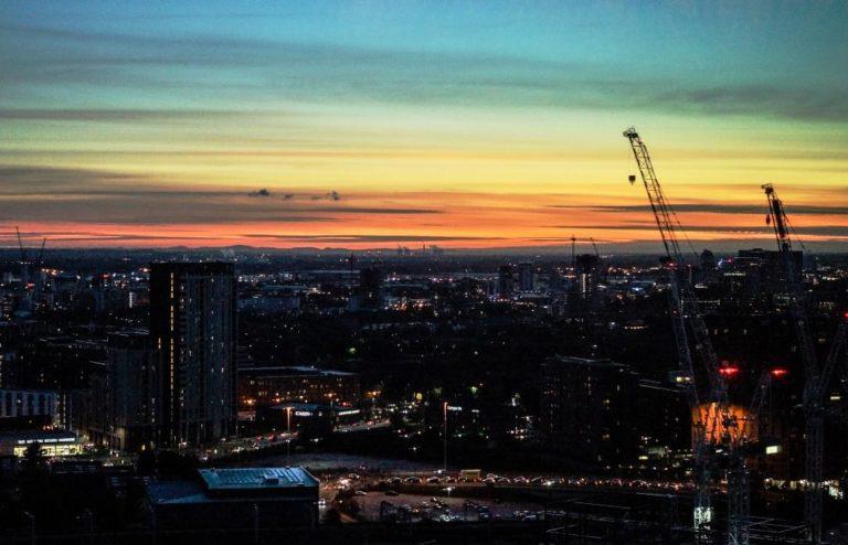 Manchester skyline at sunrise