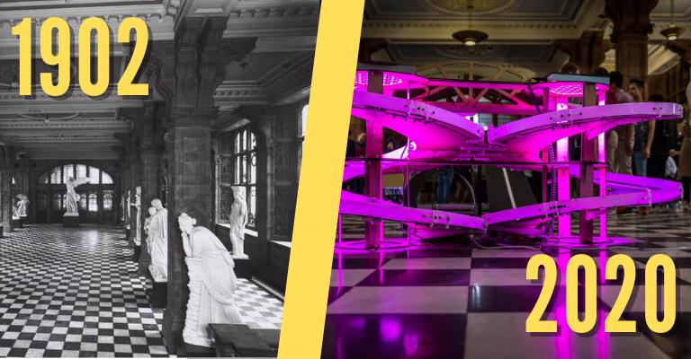 Inside Sackville Street Building in 1902 and 2020