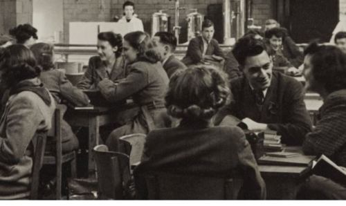 Students in the Students' Union coffee bar 1944