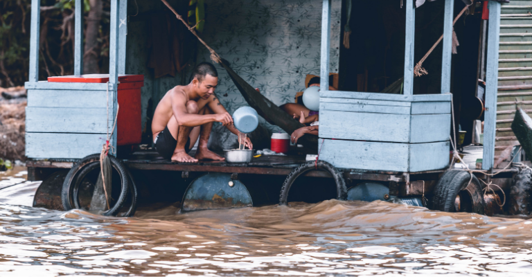 Family struggling with flooding