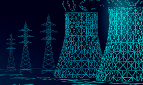 Computerised images of a nuclear power plant