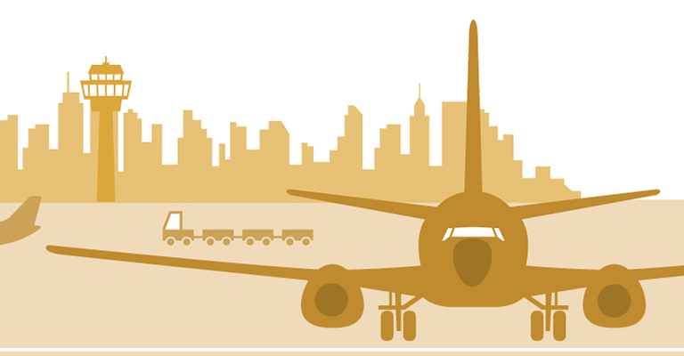 Illustration of a plane at an airport