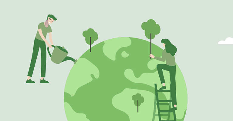 Illustration of people watering Earth