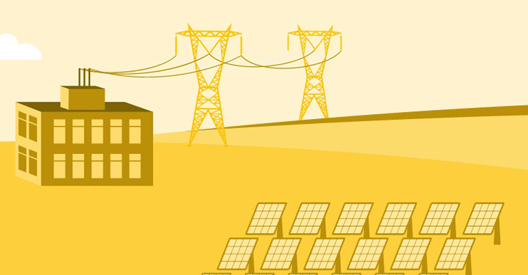 Illustration of green energy with solar panels