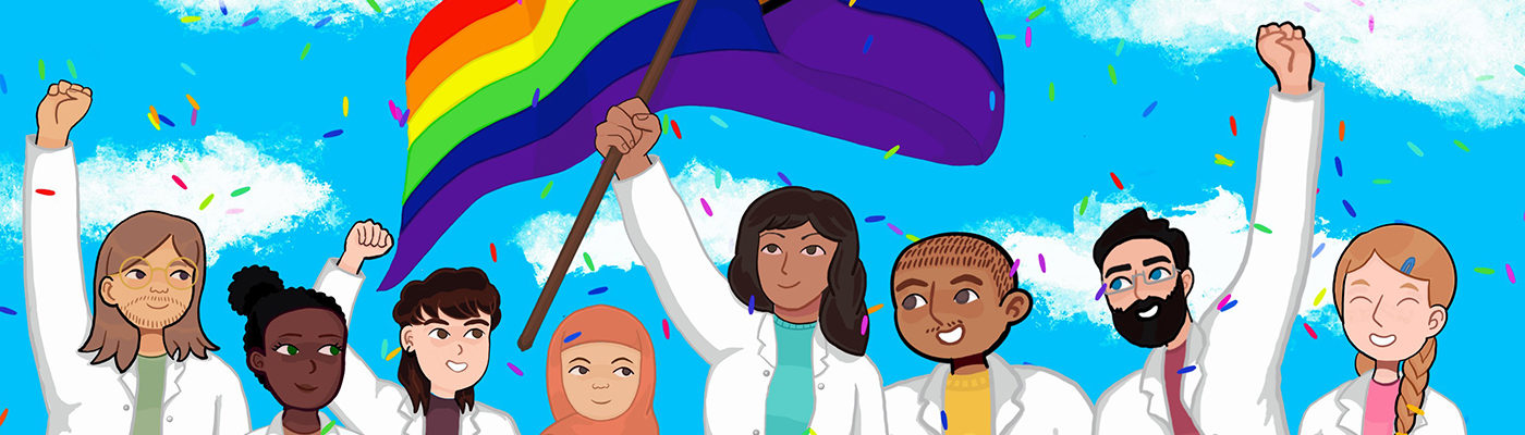Animated drawing of scientists and a rainbow flag