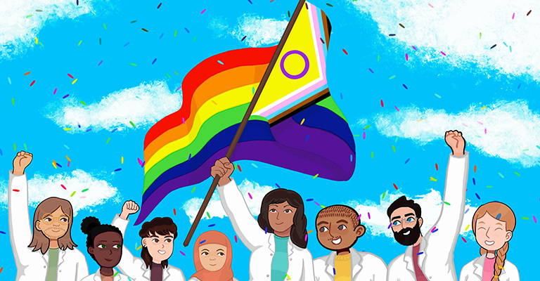Drawing of scientists with a Pride flag