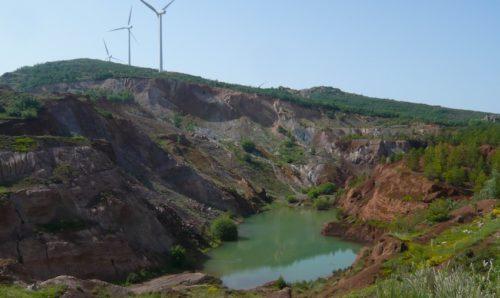 Mine, water, wind farm