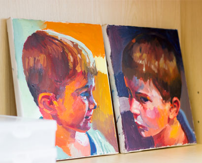 A painting of Sarah's kids by her husband Ian Stopforth